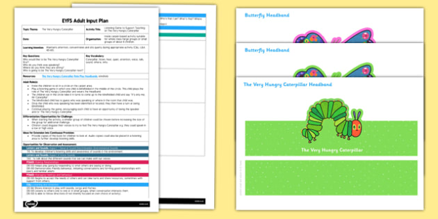 Listening Game EYFS Adult Input Plan and Resource Pack to Support Teaching on The Very Hungry Caterpillar - EYFS, Early Years planning, adult led, Eric Carle, listen, phonics, Listening and Attention, CL, Communication and Language.