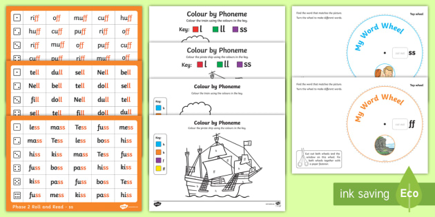 Digraphs ff, ll and ss Activity Pack - phonics, phase 2, ff, ll