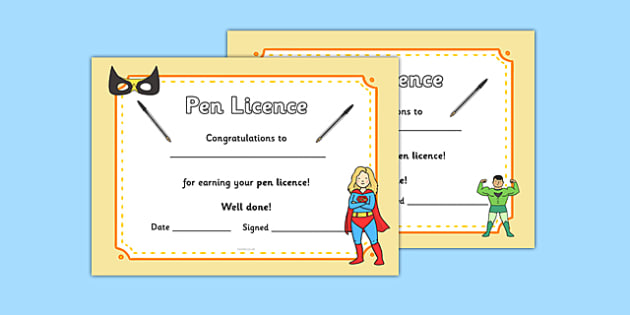 Superhero Themed Pen License Certificate - superhero, pen license, certificate, pen, license