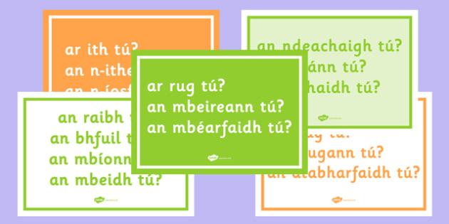 Gaeilge: Na Briathra Neamhrialta Questions Posters - briathra, neamhrialta, question, posters, display