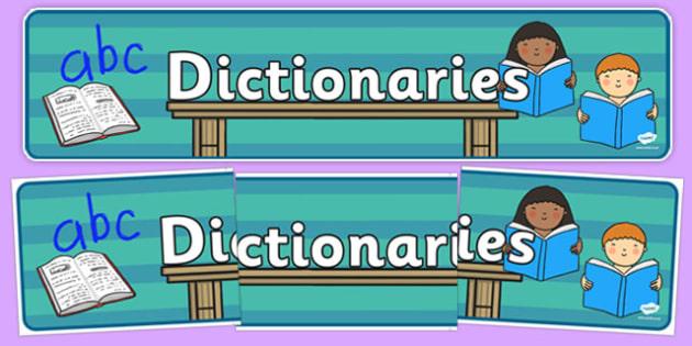 Dictionaries Display Banner - dictionaries, display banner, display, banner