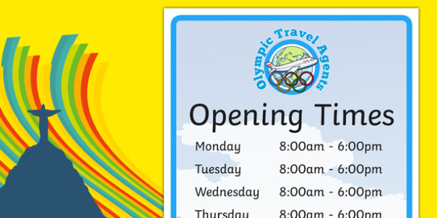 Olympic Travel Agents Opening Times - olympic, travel agents, opening times