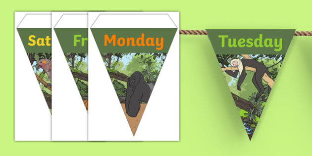 Jungle Themed Days of the Week Bunting - jungle themed, days of the week, days of the week on bunting, jungle days of the week on bunting