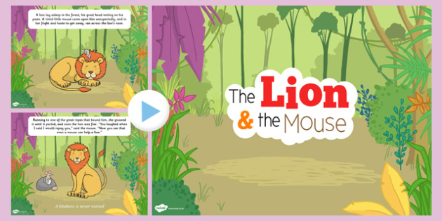 The Lion And The Mouse PowerPoint - powerpoint, fable, lion