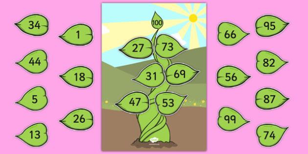 Number Bonds to 100 Beanstalk Activity - number bonds, 100, beanstalk, activity, number, bonds