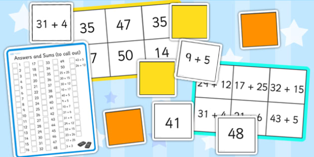 Maths Sums up to 50 Bingo and Lotto Pack - maths, bingo, lotto