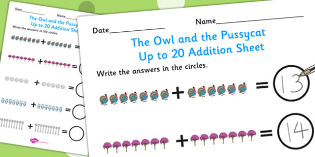 The Owl and the Pussycat Up to 20 Addition Sheet - add, adding