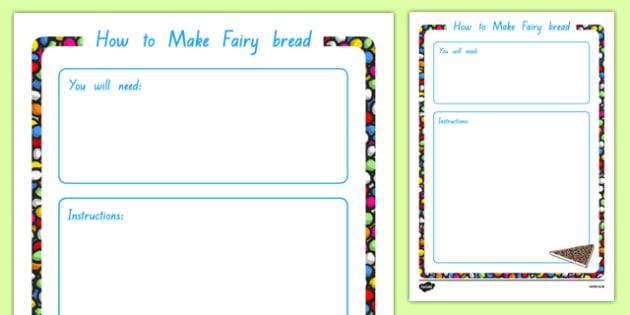 Fairy Bread Procedural Writing Template - Procedural writing template