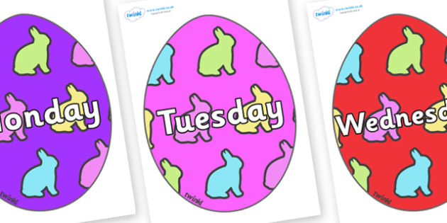 Days of the Week on Easter Eggs (Rabbit) - Days of the Week, Weeks poster, week, display, poster, frieze, Days, Day, Monday, Tuesday, Wednesday, Thursday, Friday, Saturday, Sunday
