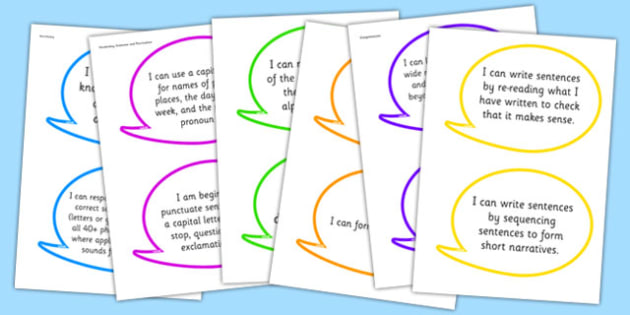 2014 Curriculum Y1 English Read Write Assessment I Can Speech Bubbles