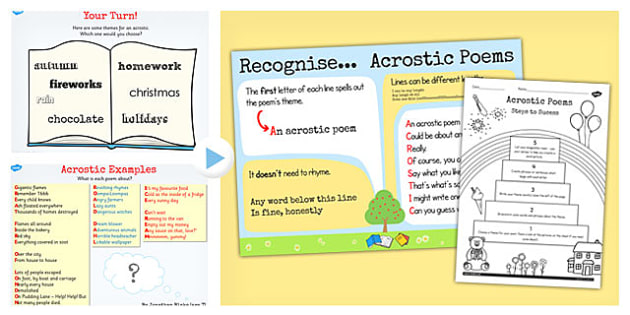Recognise Different Forms Poetry Acrostics Lesson Teaching Pack