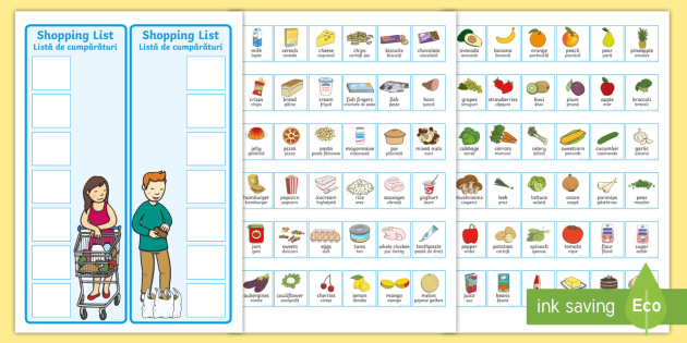 Shopping Lists And Food Cards EnglishRomanian  Shopping Lists