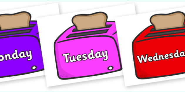 Days of the Week on Toasters - Days of the Week, Weeks poster, week, display, poster, frieze, Days, Day, Monday, Tuesday, Wednesday, Thursday, Friday, Saturday, Sunday