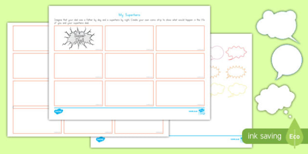 FatherS Day Superhero Comic Strip Storyboard Template