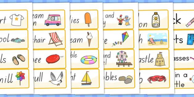 Seaside Word Cards - seaside, sea side, word cards, keywords