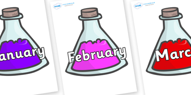 Months of the Year on Potions - Months of the Year, Months poster, Months display, display, poster, frieze, Months, month, January, February, March, April, May, June, July, August, September