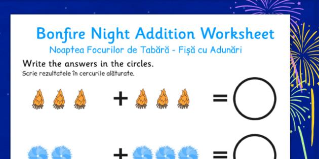 Bonfire Night Fireworks Addition Sheet Romanian Translation - romanian