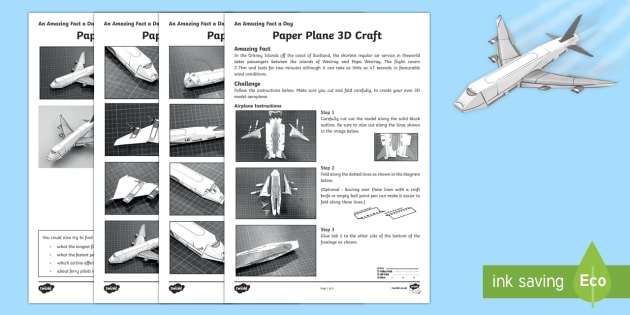 Paper Plane 3D Craft Activity Sheet - Amazing Fact Of The Day, activity sheets, powerpoint, starter, morning activity, December, plane, pa