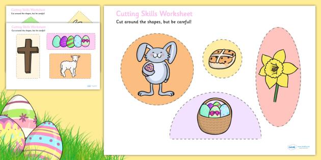 Easter Themed Cutting Skills Worksheets - cut, fine motor skills