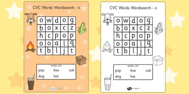CVC Wordsearch o - word search, word games, find the word, CVC