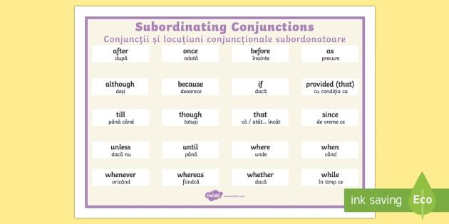 Subordinating Conjunctions Word Mat English/Romanian