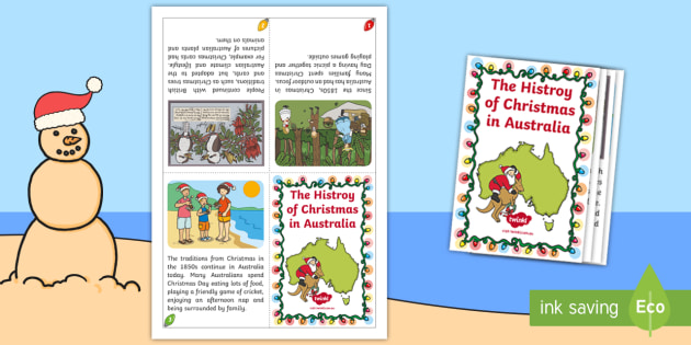 Christmas In Australia Book.History Of Christmas In Australia Mini Book Christmas