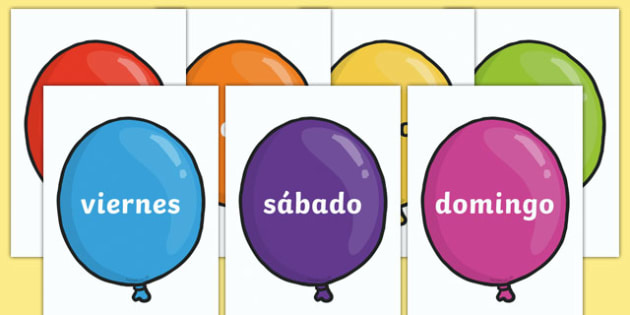 Days of the Week on Balloons (Spanish) - MFL, Spanish, Modern Foreign Languages, Spanish days of the week, foundation, languages, display, Espanol, numeracy, banner, display