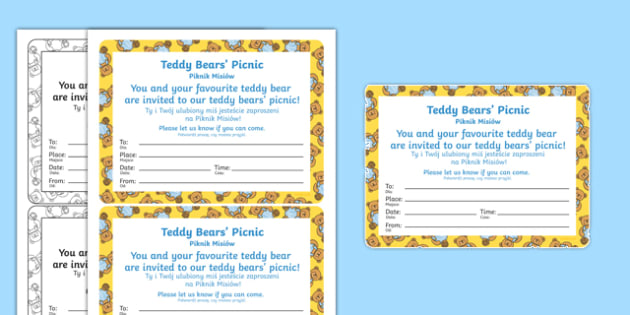 Teddy bears picnic invitation polish translation polish teddy bears picnic invitation polish translation polish eyfs early years writing stopboris Image collections