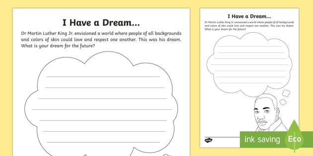 I Have a Dream... Activity Sheet - MLK; Black History Month, Civil Rights, I have a dream, Martin Luther King,Worksheet