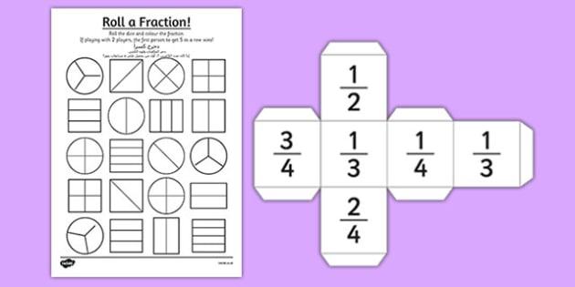 Year 2 Roll a Fraction Activity Sheet Arabic Translation - arabic, activities, fractions, worksheet