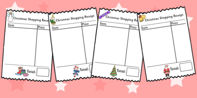Christmas Themed Shopping Receipts Role Play - christmas, xmas