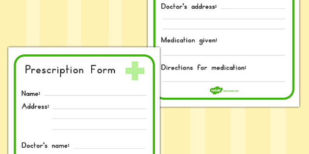 Pharmacy Role Play Prescription Form - medicines, forms, health