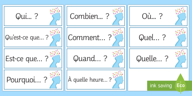 Question Words Prompt Cards French Ks3 French Speaking