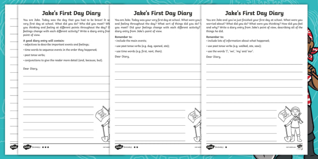 Jake's First Day Diary Writing Differentiated Worksheets