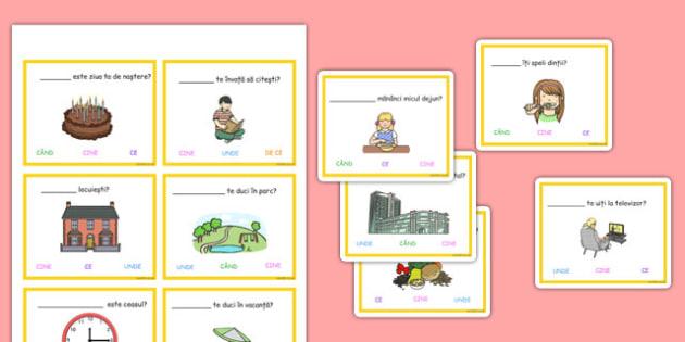 Ghicește întrebarea - Joc - ghicește, întrebarea, joc, întrebări, cartonașe, materiale, materiale didactice, română, romana, material, material didactic