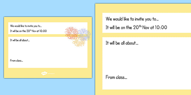writing an invitation ks1