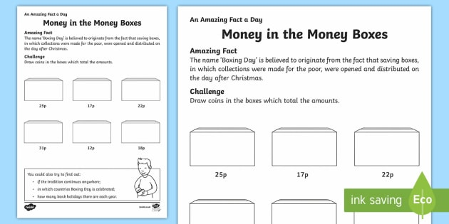 British Money in the Money Boxes Worksheet Activity Sheet