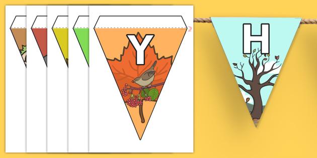 Autumn Display Lettering Bunting Welsh Translation - seasons