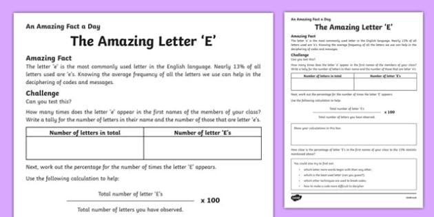 The Amazing Letter 'E' Worksheet / Activity Sheet, worksheet