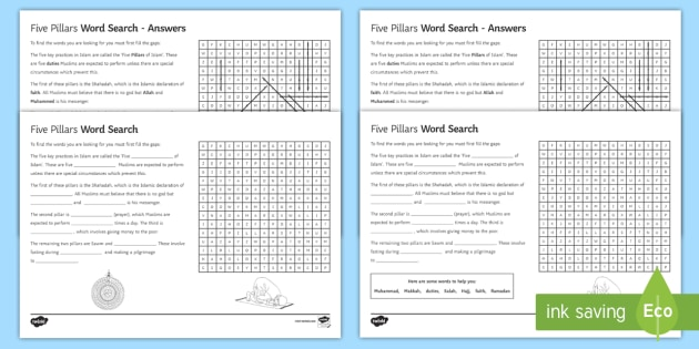 Five Pillars Differentiated Word Search Islamic Practices