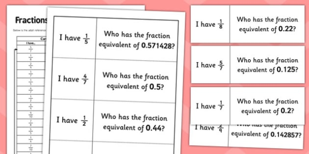 Fractions Equivalents Loop Cards - maths, KS2, key stage 2, activity, games, numerators, denominators, numeracy