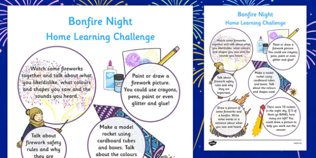 EYFS Bonfire Night Home Learning Challenge Sheet Reception FS2 - eyfs, bonfire night