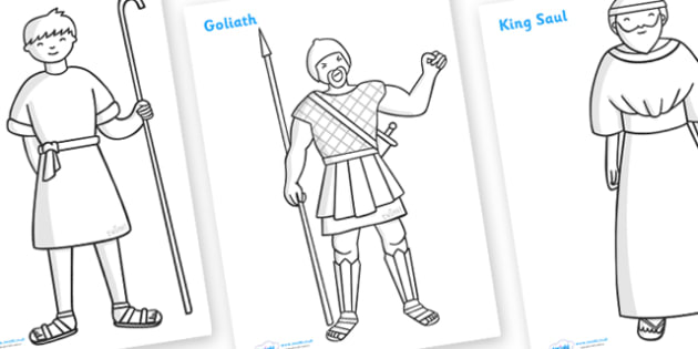 David and Goliath Story Colouring Sheets - David and Goliath, David, King Saul, Goliath, colouring, fine motor skills, poster, worksheet, vines, A4, display, Philistine army, Israelite, sling, stones, sling and stones, death, kill, small, giant, clev