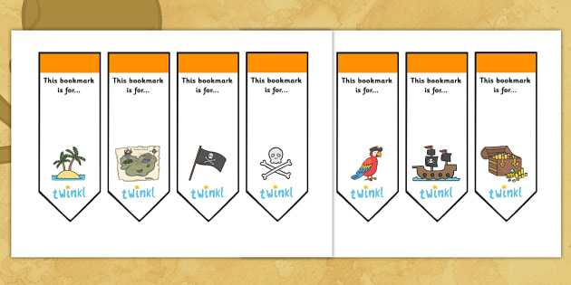 Editable Pirates Bookmarks - Bookmark, bookmark template,  gift,  present, book, reward, achievement,  pirate, pirates, treasure, ship, jolly roger, ship, island, ocean