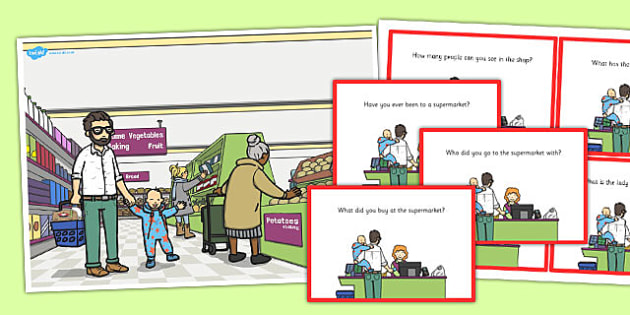 Supermarket Scene and Question Cards - supermarket, scene, cards