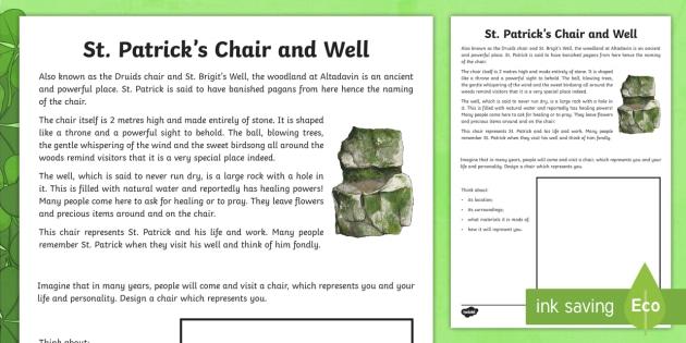 St. Patrick's Chair Read and Draw Worksheet / Activity Sheet - World Around Us KS2 - Northern Ireland, Ireland, St.Patrick, St.Patrick's Day, Art and Design, Crea
