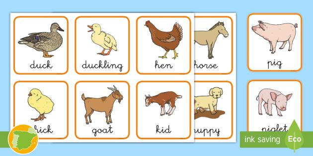 A2 Tarjetas De Emparejar Crías De Animales De Granja En Inglés