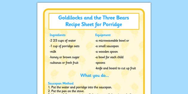 Goldilocks and the Three Bears Porridge Recipe Sheet - cooking