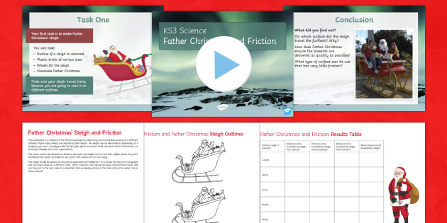 friction and father christmas sleigh lesson pack ks3 4 science christmas resources