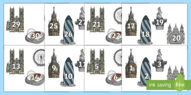 Numbers 0 to 31 on London Landmarks Cut-Outs  - EYFS, Early Years, KS1, London, landmarks, number cards, numbers, counting, maths